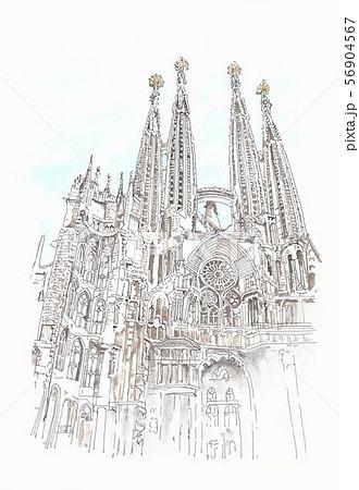 世界遺産の街並 スペイン サグラダファミリアのイラスト素材