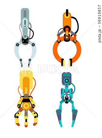 Robot industrial claws. Machine claw gripping gaming device for risk game vector set isolated 56919857