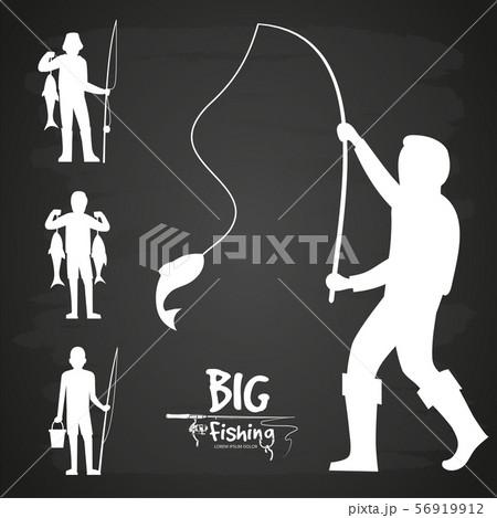 White fisherman silhouette vector design 56919912