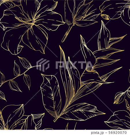 Vector Tropical flowers and leaves isolated. Black and white engraved ink art. Seamless background 56920070