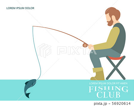 Fishing banner design with fisherman, fish and equipment 56920614