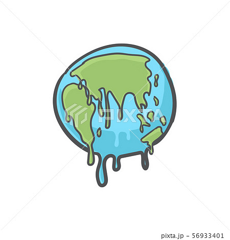 Global warming, Earth globe melting hand drawn doodle icon. 56933401