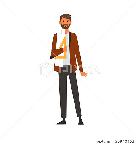 Male Architect Character, Professional Construction Worker Engineer with Projects Blueprints and 56940453