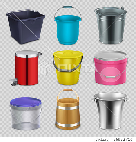 Realistic metal and plastic buckets with handle and bowls. Household container, pail vector 56952710