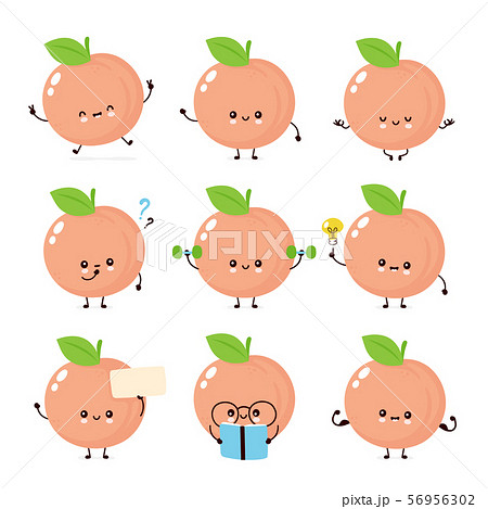 Cute happy smiling peach. Vector  56956302