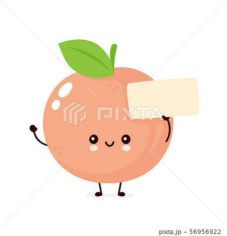 Cute happy smiling peach with empty sign 56956922