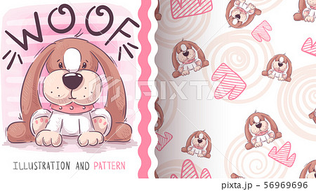 Woof teddy dog - seamless pattern 56969696