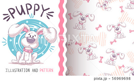 Cute teddy dog - seamless pattern 56969698