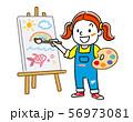 キャンバスに絵を描く女の子 56973081