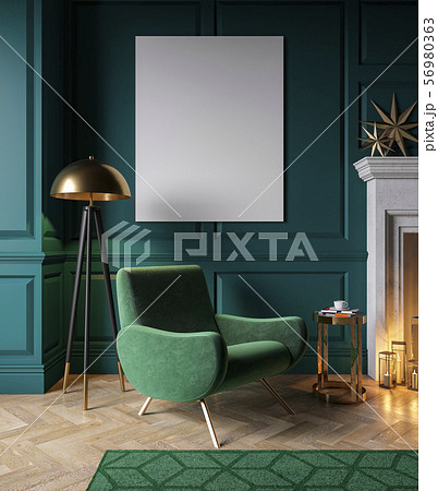 Classic green interior with armchair, fireplace, candle, floor lamp, carpet. 56980363
