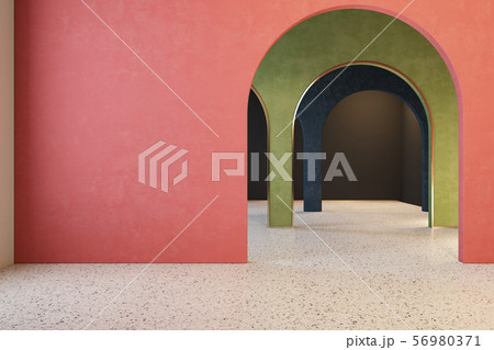 Colorful interior with archs and terrazzo floor. 56980371