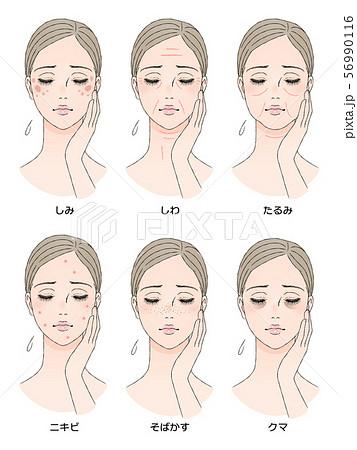 女性の顔 肌トラブル 56990116