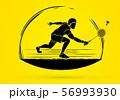 Badminton player action cartoon graphic vector. 56993930
