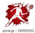 Badminton player action cartoon graphic vector. 56993932