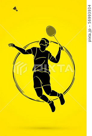 Badminton player action cartoon graphic vector. 56993934