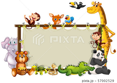 Border template with cute animals 57002529