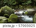 石の段差を流れる奥十曽渓谷の渓流 57003025
