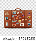 Vector 3d Realistic Retro Leather Brown Threadbare Suitcase and Travel Stickers, Metal Corners and 57015255