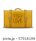 Vector 3d Realistic Retro Leather Yellow Threadbare Suitcase and Travel Stickers, Metal Corners 57016199
