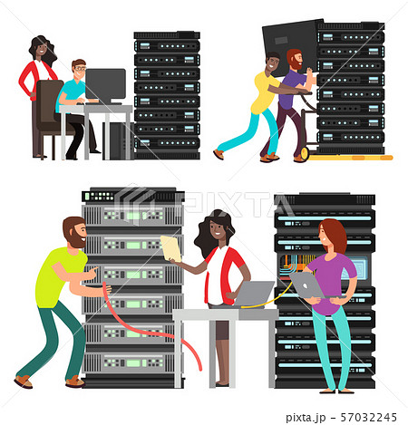 Team of computer engineers working in server room 57032245