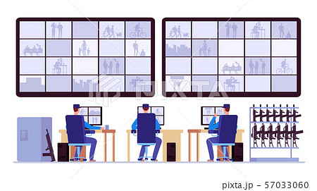 Security room. Professionals monitoring in control center with cctv monitors 57033060