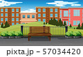 Empty park scene with buildings in background 57034420