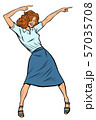 Dancing business woman. Disco dance club music 57035708