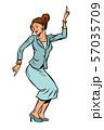 Dancing business woman. Disco dance club music 57035709