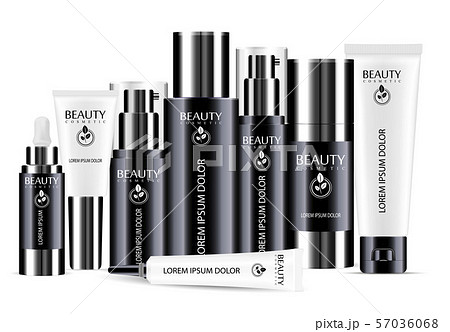 Black and white cosmetic bottle blank templates 57036068