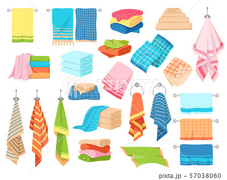 Bath towel. Hand kitchen towels, textile cloth for spa, beach, shower fabric rolls lying in stack 57038060