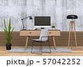 interior modern living room workspace with desk and desktop computer 57042252