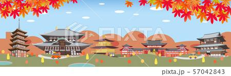 秋の古都 観光地イメージイラスト 57042843