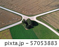 Aerial view of a country road crossroads in summer 57053883