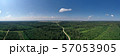 Summer forest landscape with gravel road, aerial view 57053905