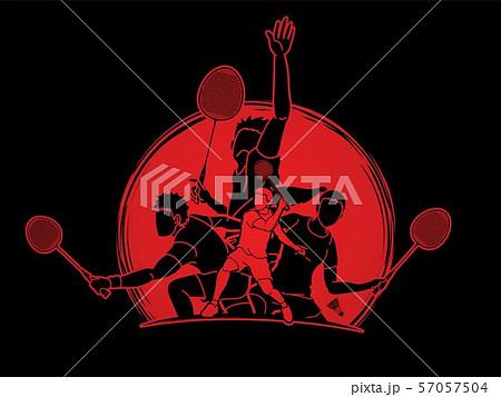 Group of Badminton players action cartoon graphic vector. 57057504