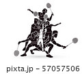 Group of Badminton players action cartoon graphic vector. 57057506