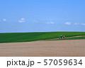 北海道・美瑛の丘 青空と畑 57059634