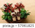 チェックリボンのプレゼント 57061825