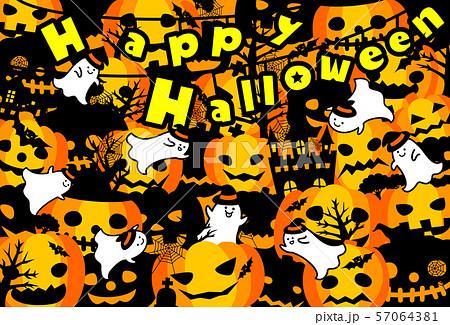 ハロウィン かぼちゃ コウモリ おばけ ポストカード 文字 57064381