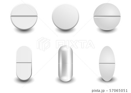 Set different vector realistic white pills 57065051