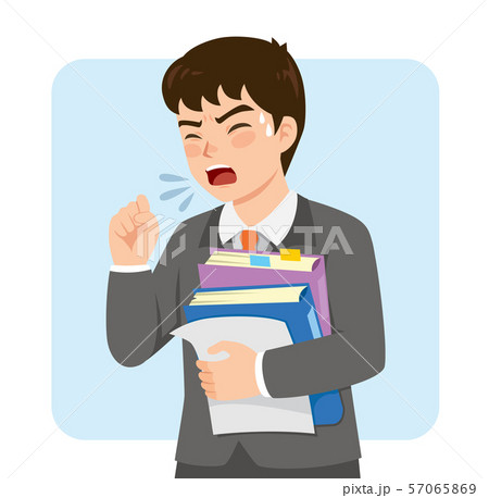 Young businessman in a suit coughing at work while holding office folders 57065869
