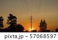 Power line pillar against the sky where the sun goes down 57068597
