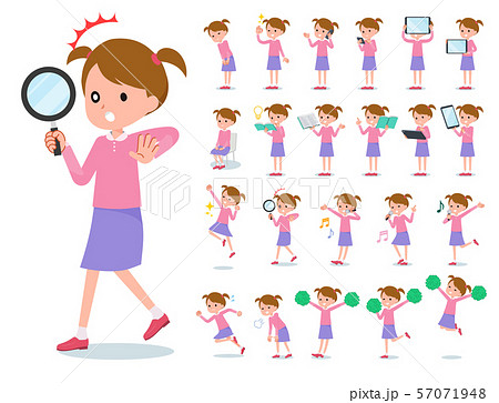 flat type Pink clothing girl_Action 57071948