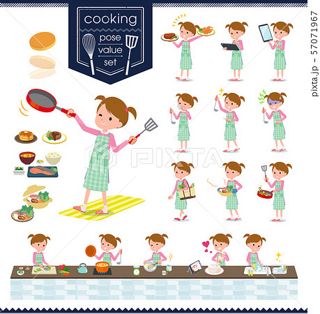flat type Pink clothing girl_cooking 57071967