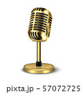 Vector 3d Realistic Gold Retro Concert Vocal Microphone with Stand Icon Closeup Isolated on White 57072725