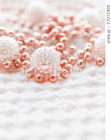 Christmas and New Year decorations on white knitted background 57072900