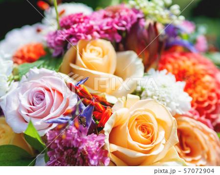 Wedding bouquet. Bride's traditional symbolic accessory. 57072904