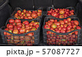 Four boxes with ripe tomatoes in the trunk of a car 57087727