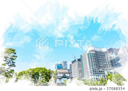 初夏の皇居 水彩画風 57088354