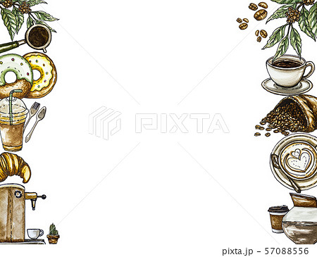 Watercolor illustration set design of coffee for background. 57088556